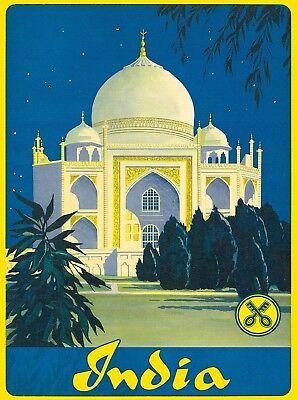 India Taj Mahal Agra Uttar Pradesh Southeast Asia Vintage Travel Poster Print