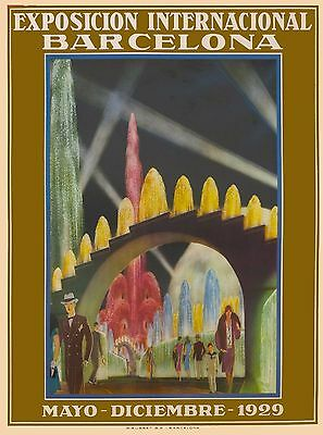 1929 Barcelona Exposicion Internation Spain Vintage Travel Advertisement Poster