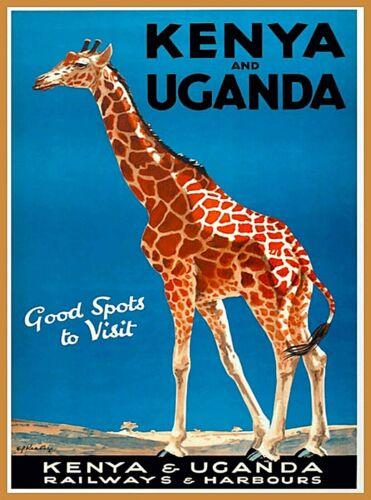 Kenya & Uganda Africa Vintage Travel Wall Advertisement Art Poster Print