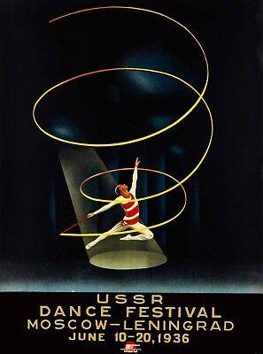 1936 USSR Dance Festival Vintage Russian Travel Advertisement Art Poster Print