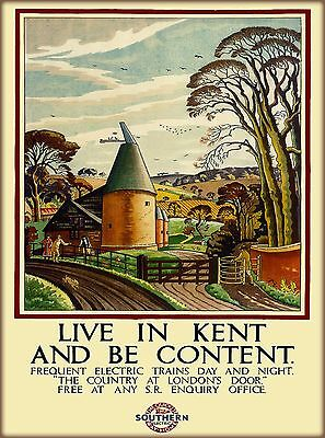 Live in Kent England Great Britain by Train Vintage Travel Art Poster Print