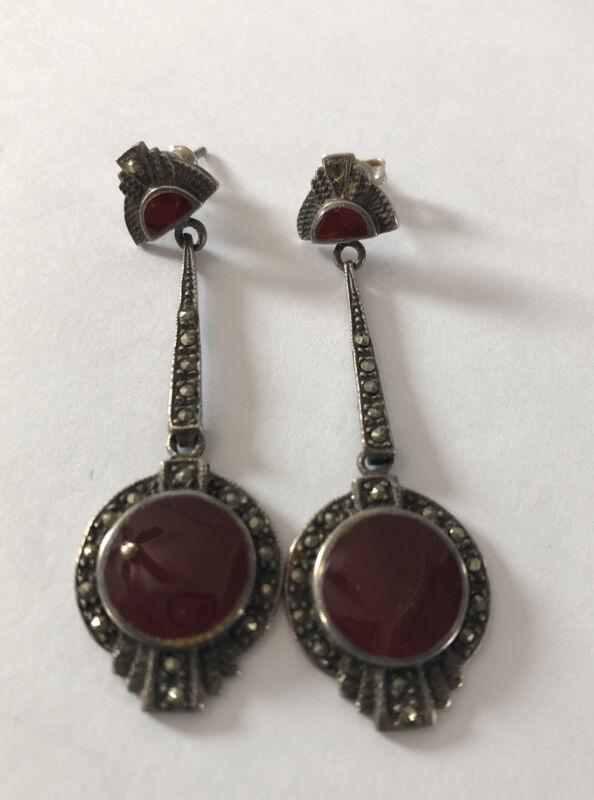 Vintage Art Deco Sterling Silver Marcasite Earrings Pierced 925 Maroon Stone