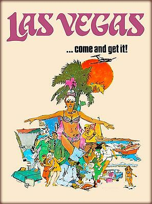 Las Vegas Come & Get It! Nevada United States Vintage Travel  Art Poster