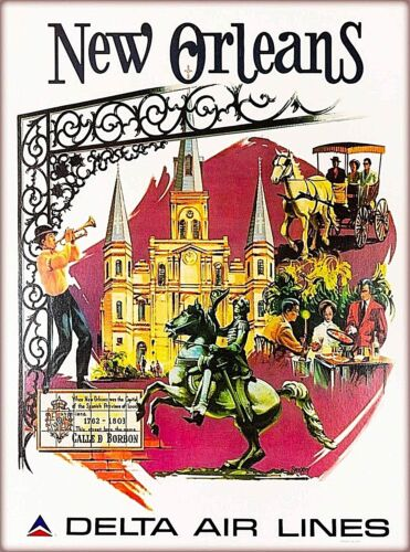 New Orleans Louisiana Delta Air Lines Vintage Travel Advertisement Poster Print