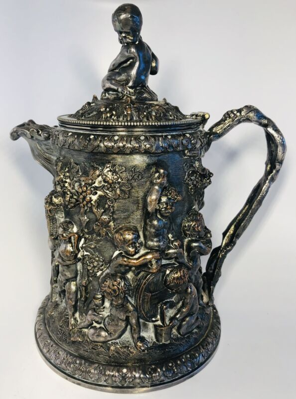 19th C. English Victorian Silverplate Cherubs Grapevines Lidded Tankard