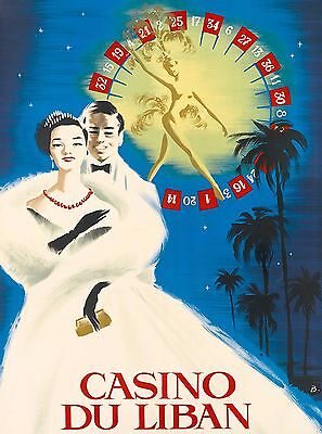 Casino Du Liban Beirut Lebanon Vintage Travel Art Advertisement Poster