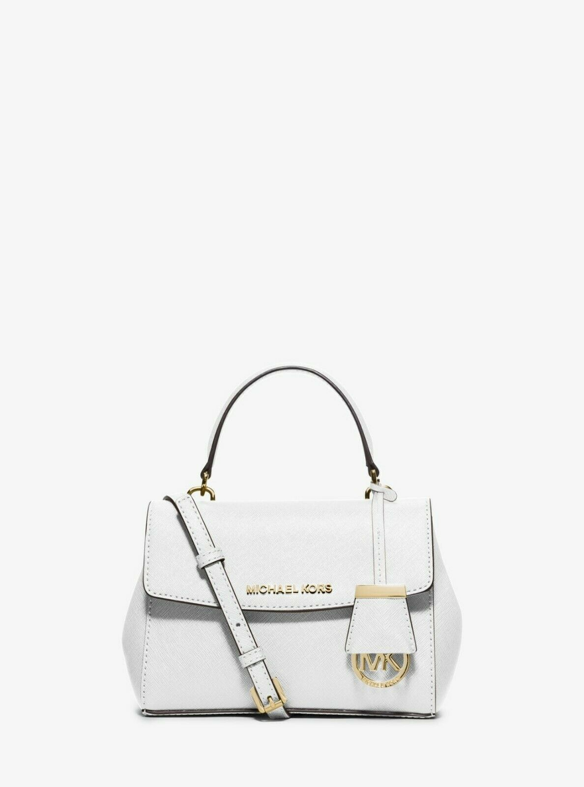 Michael Kors Ava Extra Small White Leather Crossbody Satchel Bag