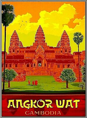 Angkor Wat Cambodia  Asia Asian Vintage Travel Advertisement Art Poster Print Advertisement Art Poster Print