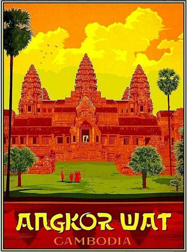 Angkor Wat Cambodia  Asia Asian Vintage Travel Advertisement Art Poster Print