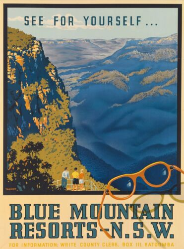 Blue Mountains in New South Wales Australia Vintage Travel Advertisement Poster