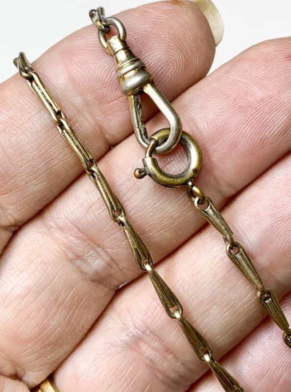 """Antique Pocket Watch Chain, 17"""" Necklace. Victorian Chain, Rolled Gold Jewelry"""