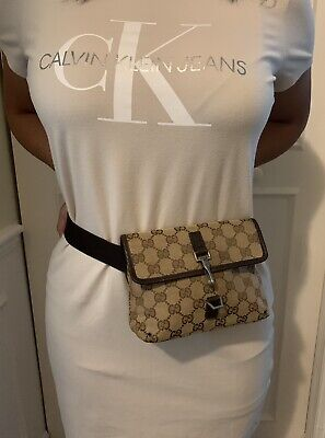 100% Authentic GUCCI Gucci Fanny Pack Waist Adjustable Cross Body Belt Bag Brown