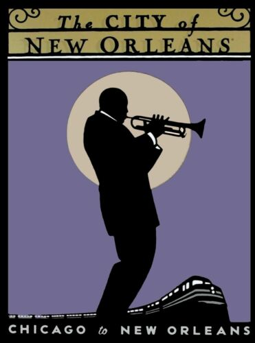 Chicago to New Orleans Louisiana Jazz United States Travel Advertisement Print