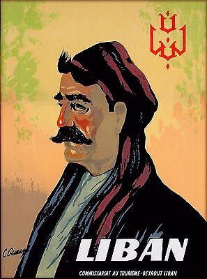 Liban Beirut Lebanon Lebanese Man Vintage Travel Advertisement Art Poster Print