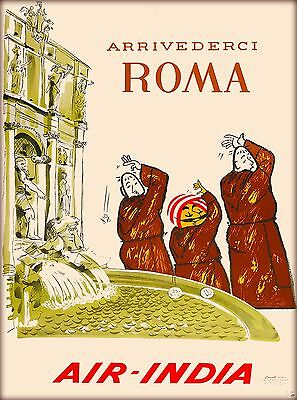 Arrivederci Roma Rome Italy Air India Vintage Travel Advertisement Art Poster