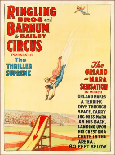 Ringling Brothers Thriller Supreme Vintage Circus Travel Advertisement Poster