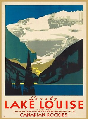 Chateau Lovely Lake Louise Rockies Vintage Canada Canadian Travel Poster Print