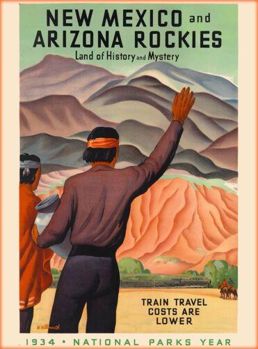 1934 New Mexico Arizona Rockies U.S. Vintage Railway Travel Advertisement Poster