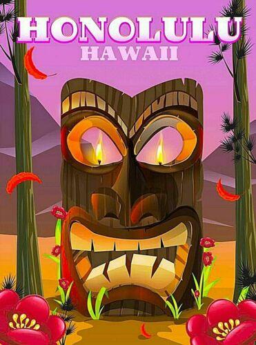 Honolulu Hawaii Carved Tiki Head Retro Travel Advertisement Art Poster Print
