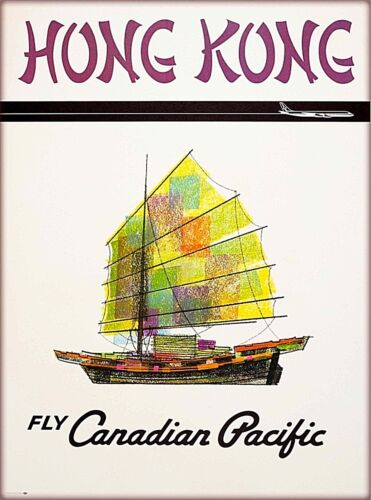 Hong Kong Fly Canadian Pacific China Vintage Travel Advertisement Poster Print