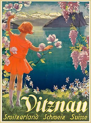Vitznau Lucerne Suisse Switzerland Swiss Vintage Travel Advertisement Poster