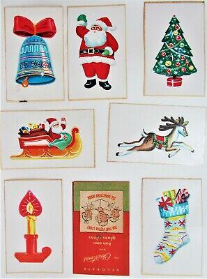 Vintage Bon Ami Glass Gloss Christmas 7 Sticker Stencils Santa Stocking Sleigh