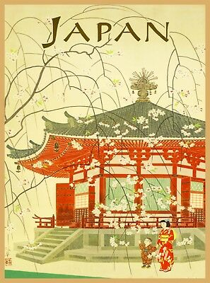 Geisha & Pagoda Japan Vintage Japanese Airlines Travel Advertisement Poster