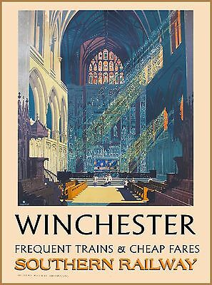 Winchester England Great Britain Vintage Railway Travel Advertisement Poster