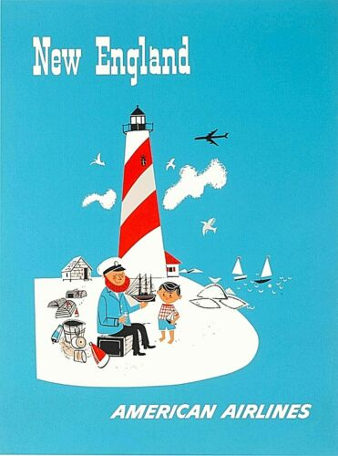 New England American Airlines United States Vintage Travel Decor Poster Art