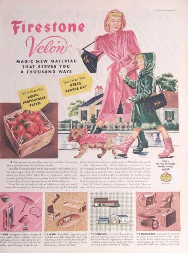 Vintage 1946 Firestone Velon Art Print AD Magic New Material