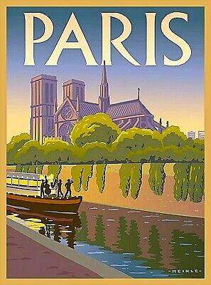 Notre Dame Cathedral Paris France Seine River Boat Vintage Travel Poster Print ()