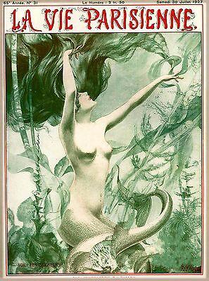 1927 La Vie Parisienne Mermaid French Nouveau France Travel Advertisement Poster