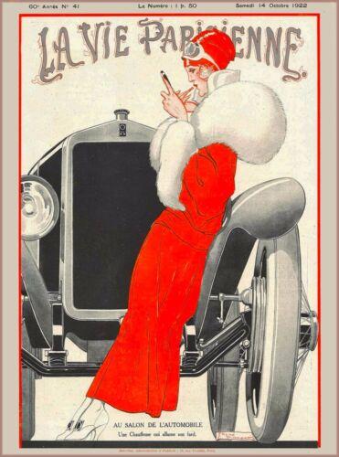 1922 La Vie Parisienne Girl Car French France Travel Advertisement Poster Print