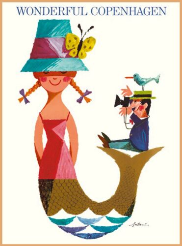 Wonderful Copenhagen Denmark Scandinavia Vintage Travel Advertisement Art Poster