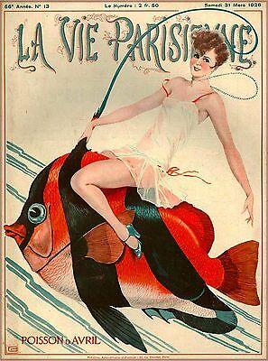 1928 La Vie Parisienne Girl Fish French France Travel Advertisement Poster Print