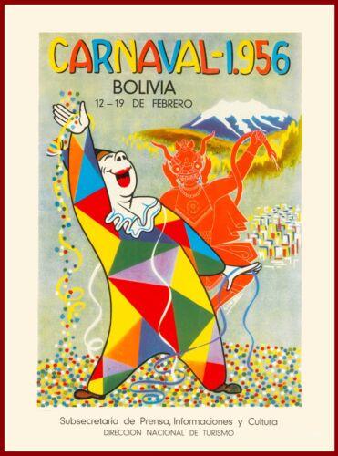 1956 Carnaval Bolivia South America Vintage Travel Art Poster Advertisement