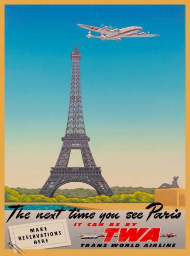 Paris Eiffel Tower TWA  France Vintage Airline Travel Advertisement Poster