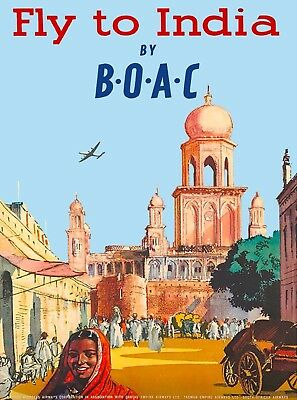 Fly to India by B-O-A-C Southeast Asia Asian Vintage Airline Travel Poster Print