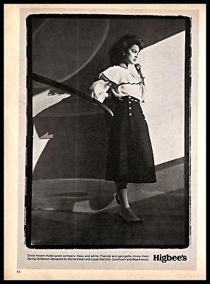 1981 Anne Klein Designer Clothing Vintage PRINT AD Higbee's Fashion Store B&W