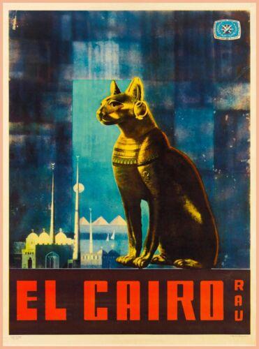 El Cairo Rau Cat Egypt Travel Advertisement Art Poster Print. Africa