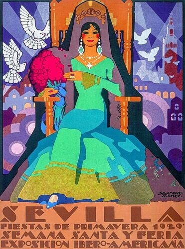 1929 Sevilla Fiestas de Primavera Spain Vintage Travel Advertisement Poster