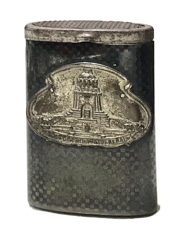 Antique Vintage Niello Gold Wash Battle Of Nations Vesta Match Safe Case Holder