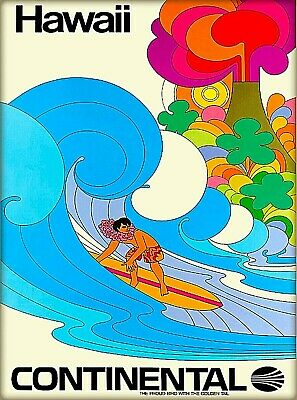 Hawaii Continental Surf United States Vintage Airline Travel Art Poster Print