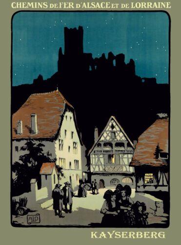 Kayserberg Chemins de fer de Alsace France French Vintage Travel Poster Print