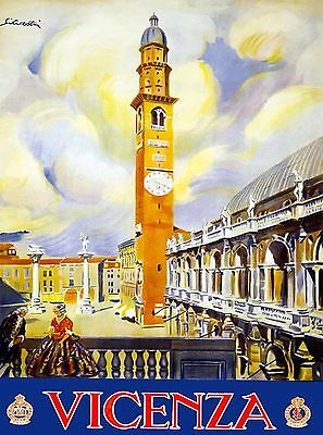 Vicenza Monte Berico Italy Vintage Italian Travel Advertisement Art Poster Print