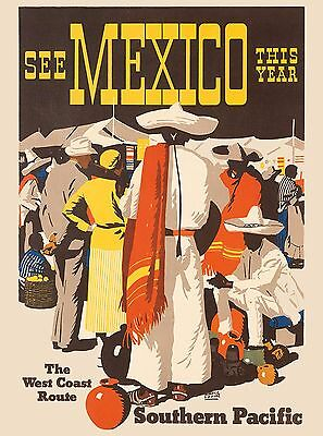 See Mexico Southern Pacific Vintage Mexican Travel Advertisement Art Poster