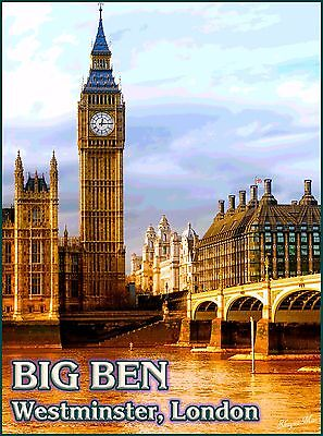 London England Big Ben Westminster British Vintage Travel Advertisement Poster
