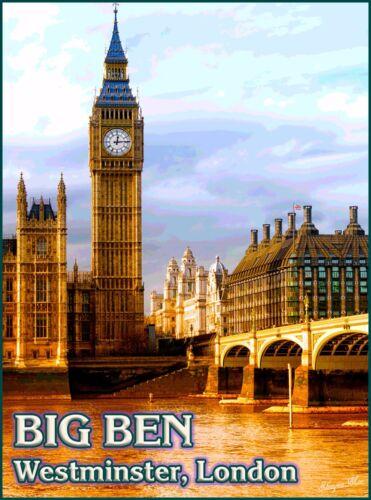 London England Big Ben Westminster British Vintage Travel Advertisement Poster