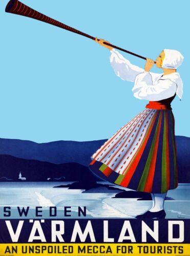 Värmland Sweden Scandinavia Vintage Swedish Travel Advertisement Poster Print