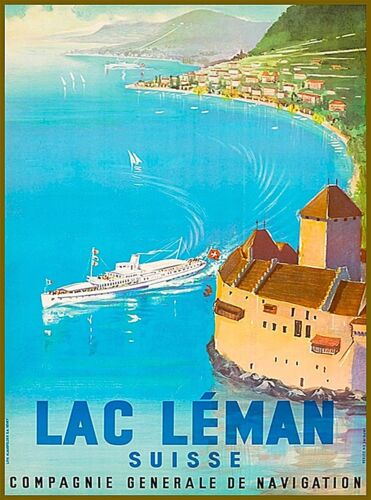 Lake Leman Switzerland Suisse Vintage Travel Advertisement Art Poster Print